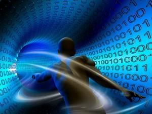 Man Running in Digital Vortex