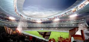 Una simulazione del futuro stadio della Roma
